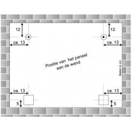 AOS Zelfklevende Glas en DiBond hanger incl. 2 muur haken en 4 afstandhouders (Set)