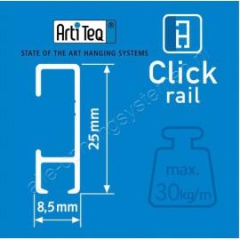 Artiteq Click Rail wit en alu - 1x Perlon draad met zelfremmende haak 20kg – 6x click&connect – 2x eindkap -  200cm (Set)