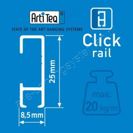 Artiteq Click Rail Weiss übermalbar 150cm - 20kg